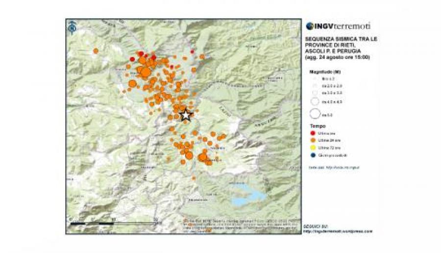 Il terremoto di oggi dal sito INGV Terremoti