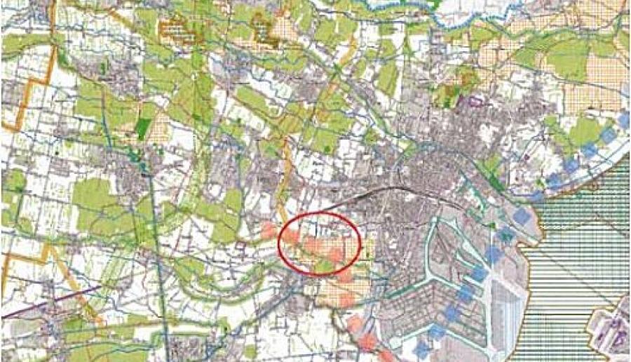 estratto del Piano territoriale provinciale con evidenziata l'area del Bosco di Marghera